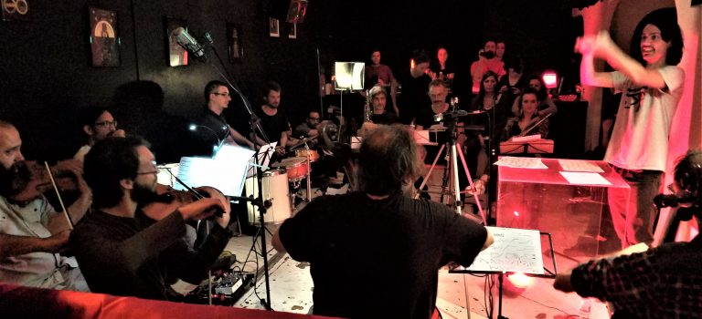 """Discordian Community Ensemble plays: """"Aiwass, based on The Book of the Law of Aleister Crowler, at Magia Roja, 12-5-2018"""